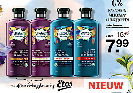 Herbal Essences. Een combinatie van essentiële antioxidant, aloë, en zeekelp
