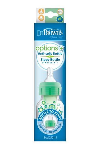 Dr Brown's Options+ overgangsfles smalle hals groen 250 ml (1 stuks)