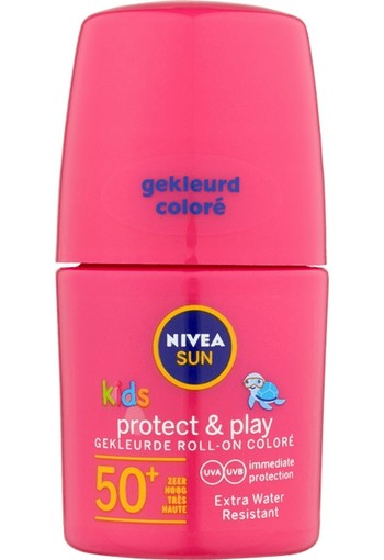 NIVEA SUN Kids Protect & Play Gekleurde Roll-on SPF50 Pink 50 ml