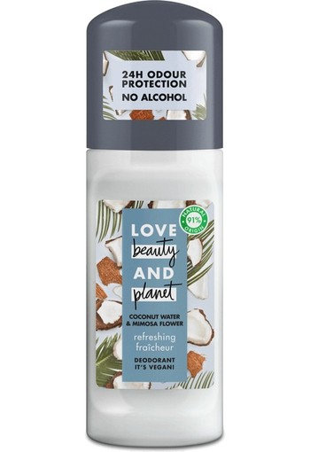 Love Beauty And Planet Vegan Deodorant Roller Coconut Water And Mimosa Flower 50 ml