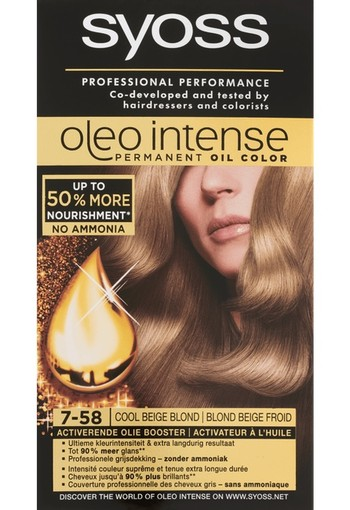 Syoss Oleo Intense Permanent Oil Color 7-58 Cool Beige Blond 115 ml
