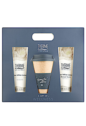 Therme Zen White Lotus Shower Scrub Met Koffie-Thee Beker Geschenkset