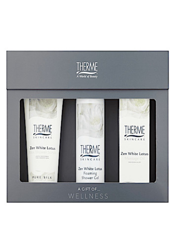 Therme Zen White Lotus Scrub Foam Massage Oil Geschenkset 3 stuks