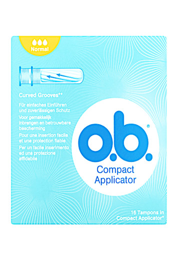 o.b. Compact Applicator Curved Grooves Tampons 16 stuks
