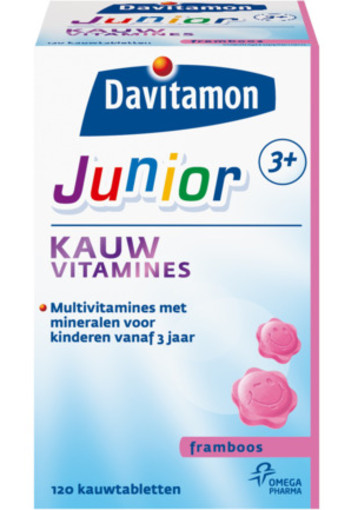 Davitamon Junior 3+ Kauwvitamines Framboos 120kt