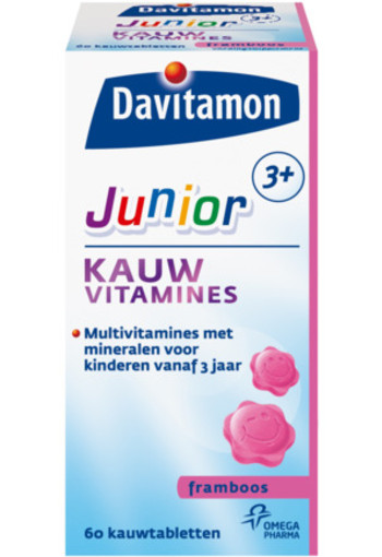 Davitamon Junior 3+ Kauwvitamines Framboos 60kt