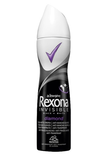 Rexona Invisible Black + White Diamond Aerosol Anti-transpirant voor vrouwen 150ml
