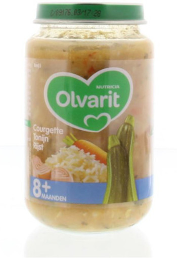 Olvarit Courgette Tonijnrijst 8m03 200g