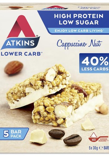 Atkins Day break capuccino nut reep 30 gram (5 stuks)