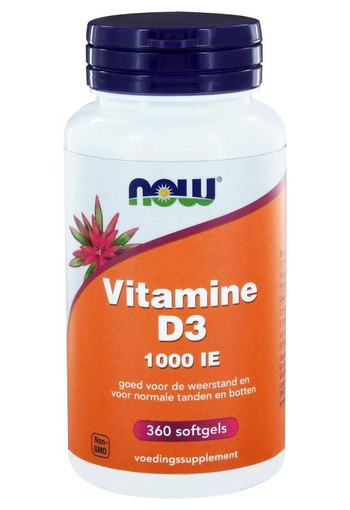 NOW Vitamine D3 1000IE (360 softgels)