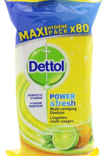 Dettol Power & fresh wipes citrus (80 stuks)