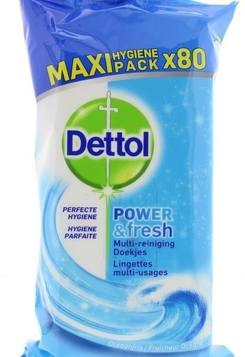 Dettol Power & fresh wipes ocean (80 stuks)