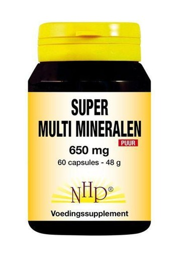 NHP Super multi mineralen 650 mg puur (60 capsules)