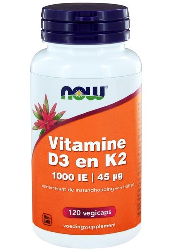 NOW Vitamine D3 1000IE & Vitamine K2 (120 vcaps)