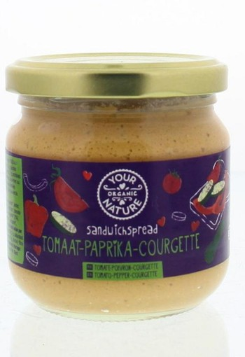 Your Organic Nat Sandwichspread tomaat paprika courgette bio (180 gram)