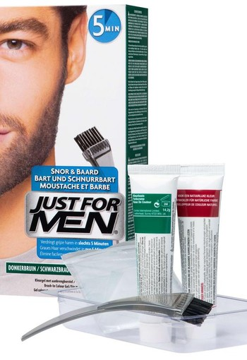 Just For Men Snor en baard middenbruin m35 (24 gram)