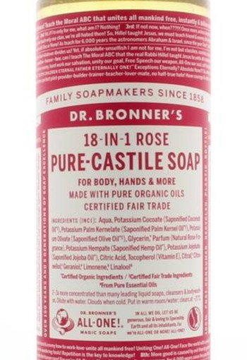 Dr Bronners Liquid soap roos (475 ml)