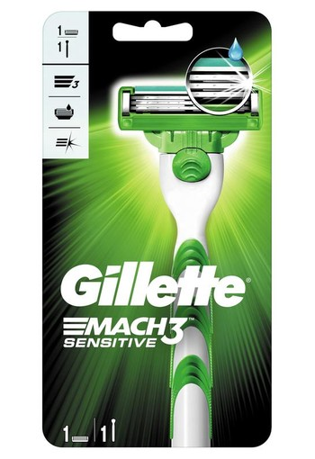 Gillette Mach3 sensitive systeem + 1 mesje (1 set)