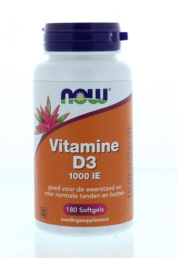 NOW Vitamine D3 1000IE (180 softgels)