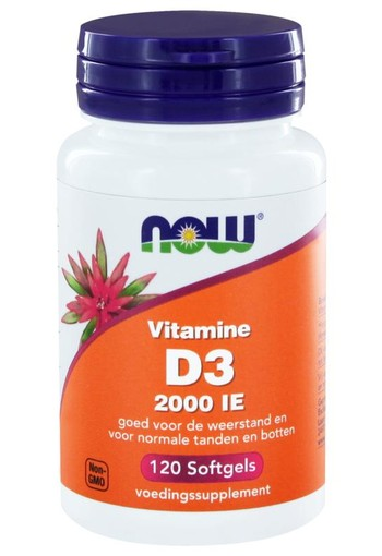 NOW Vitamine D3 2000IE (120 softgels)