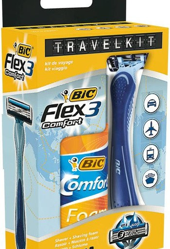 BIC Travelkit Flex 3 + Comfort Foam Sensitive 90 ml (1 set)
