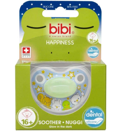 Bibi Fopspeen Happiness Glow In The Dark 16+ Maanden 1st