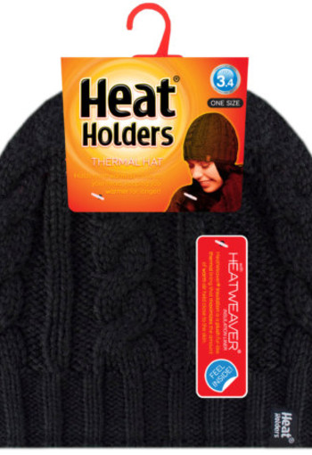 Heat Holders Ladies cable hat one size black (1 paar)