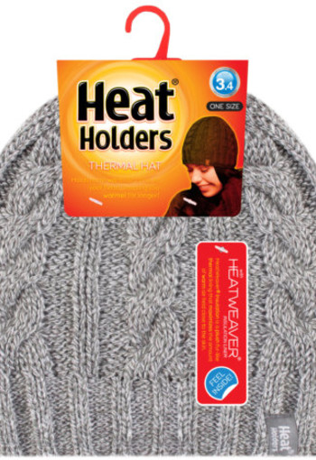 Heat Holders Ladies cable hat one size light grey (1 stuks)