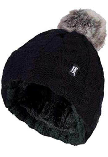 Heat Holders Ladies turnover cable hat with pom pom black (1 stuks)