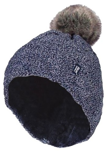 Heat Holders Ladies turnover cable hat with pom pom navy (1 stuks)