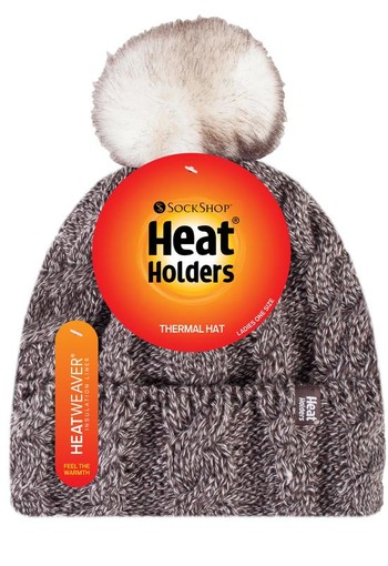 Heat Holders Ladies turnover cable hat with pom pom fawn (1 stuks)