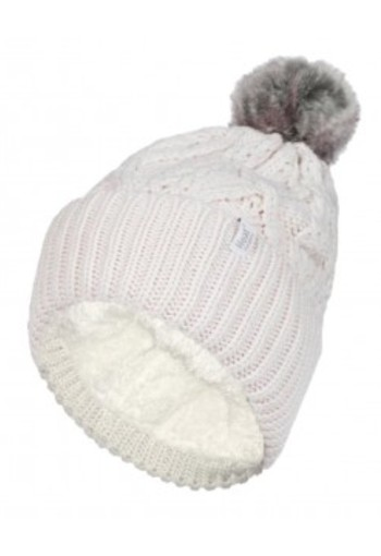 Heat Holders Ladies turnover cable hat with pom pom cream (1 stuks)