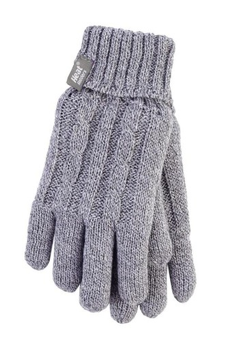 Heat Holders Ladies cable gloves M/L light grey (1 paar)
