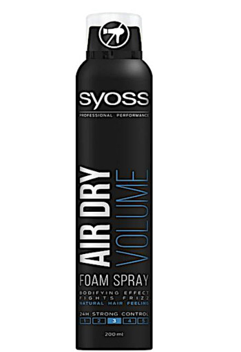 Syoss Air dry foam spray volume haarmousse (200 ml)