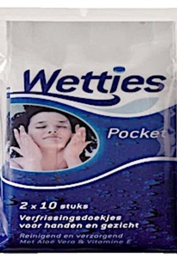 Wetties Pocket Verfrissingdoekjes 2x10st