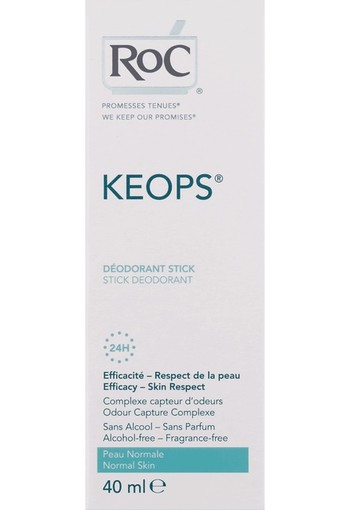 ROC Keops deodorant stick zonder alcohol (40 ml)