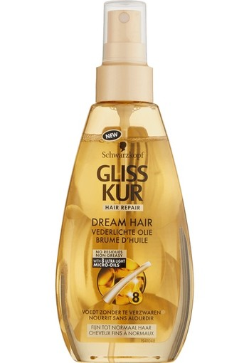 Schwarzkopf Gliss Kur Oil Nutritive Dream Hair Vederlichte Olie 150 ml