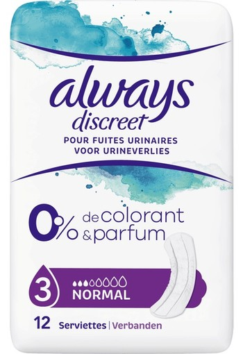 Always discreet pads 0% normal single pack 12 stuks