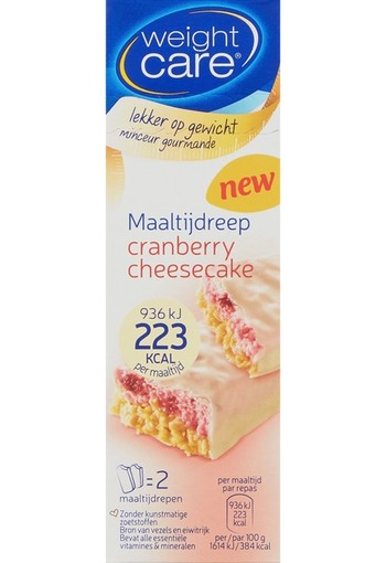 Weight Care Maaltijdreep Cranberry Cheesecake 2x58g / 116 gr.