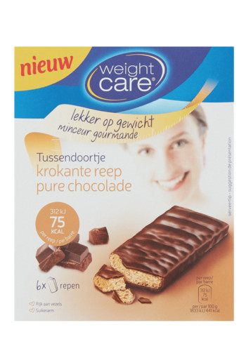 Weight Care Krokante Reep Pure Chocolade 6 x 17 g Doos