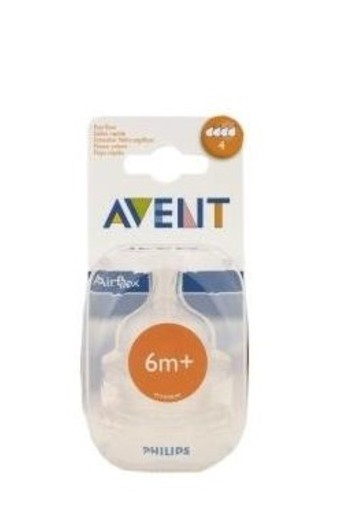 Avent Speen Silicone Snel 4 Gaatjes 6m+ 2st