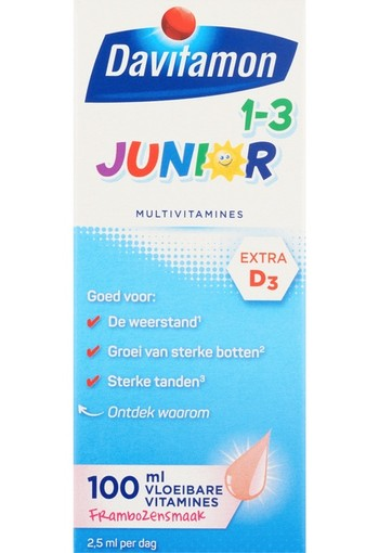 Davitamon Junior 1+ Vloeibare Vitamines Framboos 100 tabletten