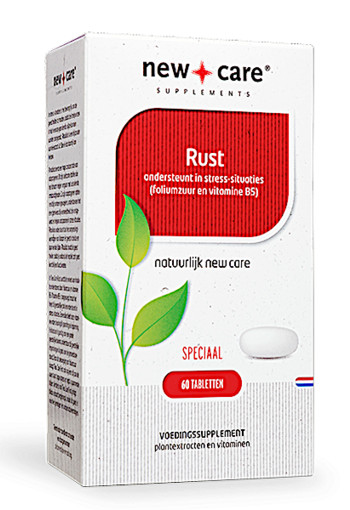 New Care Rust ondersteunt in stress-situaties (foliumzuur en vitamine B5) Inhoud  60 tabletten