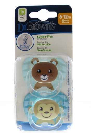 Dr Brown's Fopspeen prevent animal faces F2 blauw (2 stuks)