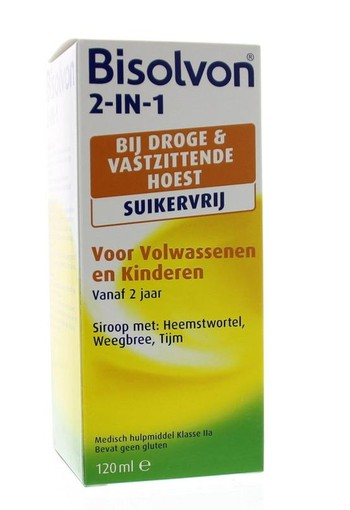 Bisolvon Drank 2 in 1 suikervrij (120 ml)