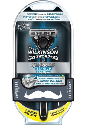 Wilkinson Quattro titanium sensitive apparaat met 2 mesjes (1 set)