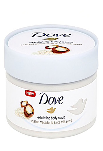 Dove Shower scrub macadamia en rice milk (225 ml)