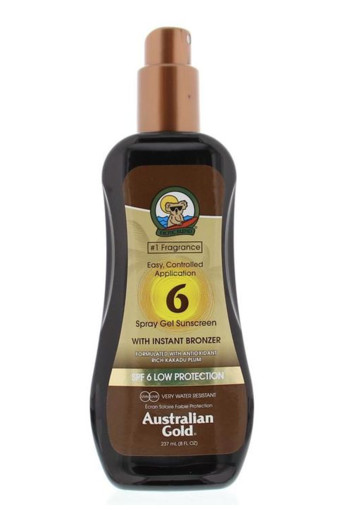Australian Gold Spray gel met bronzer SPF6 (237 ml)