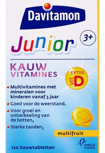 Davitamon Junior 3+ multifruit 120 kauwtabletten