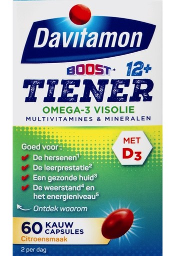 Davitamon Multi Boost Junior 12+ Omega-3 Visolie Kauwcapsules Citrus 60 stuks